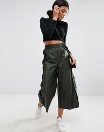 ASOS - Pantalon style jupe-culotte en similicuir avec volants sur les côtés