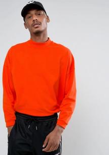 ASOS - T-shirt oversize à col montant et manches courtes - Rouge