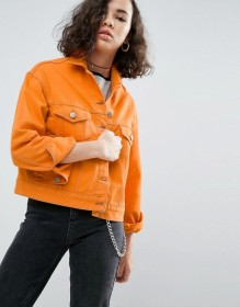 ASOS - Veste en jean avec coutures contrastantes - Orange